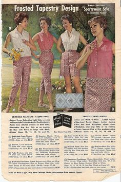 Stylish 1950s casual summer wear featuring a frosted tapestry design print.