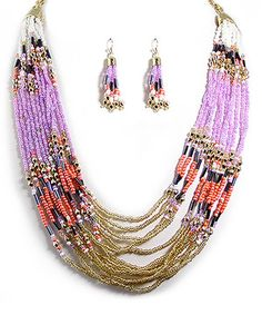 Love this Gold & Purple Bead Multistrand Necklace & Drop Earrings by MOA International Corp on #zulily! #zulilyfinds