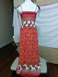 BUY IT NOW! Free Shipping! Empire Waist Maxi Sundress Adjustable Tie Straps Twenty One Size M Floral Print  | eBay