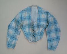 RARE 1860's Robin's Egg Blue and Cream Plaid Bodices Doll Dressing   eBay seller unny860; silk taffeta;