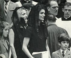 Caroline, Jackie's sister Lee Radziwill, Jackie and John, Jr. at the funeral of Senator Robert F. Kennedy in New York on June 8, 1968
