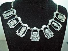Rare Vintage Peruvian Inca Deity Panel Necklace 900 Silver Seven Panels NICE!