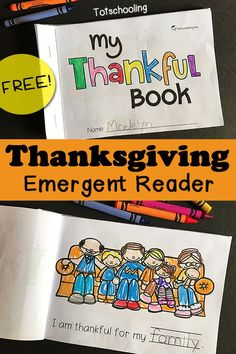FREE printable Gratitude and Thanksgiving themed emergent reader book to get kids practicing sight words, tracing words, coloring and talking about the things they are thankful for! Great Thanksgiving literacy activity for kindergarten. for kindergarten Thanksgiving Activities For Kindergarten, Thanksgiving Worksheets, Thanksgiving Writing, Kindergarten Reading, Kindergarten Activities, Thanksgiving Emergent Reader Free, Holiday Activities, Thanksgiving Ideas, Turkey Kindergarten
