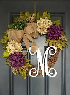 Front Door Wreath,Purple Hydrangea Wreath,Year Round Wreath,Mother's Day Wreath,Grapevine – Vine Ideas Wreaths For Front Door, Door Wreaths, Grapevine Wreath, Burlap Wreath, Initial Wreath, Hydrangea Wreath, Sunflower Wreaths, Purple Wreath, Mothers Day Wreath