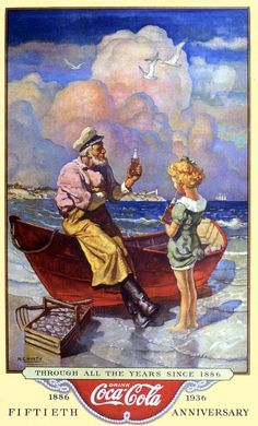 """Coca-Cola ad, """"Through All The Years From - Illustration by Newell Convers Wyeth (The girl is by Hayden Hayden) Coca Cola Vintage, Pub Vintage, Vintage Signs, Coca Cola Poster, Coca Cola Ad, Always Coca Cola, World Of Coca Cola, Jamie Wyeth, Andrew Wyeth"""