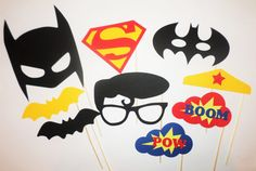 Superman Batman vs Superman photo booth prop by PartyPhotoProps Superman Birthday Party, 6th Birthday Parties, Superhero Party, Birthday Fun, Birthday Party Decorations, Batman Vs Superman, Superman Photos, Anniversaire Wonder Woman, Animation Soiree
