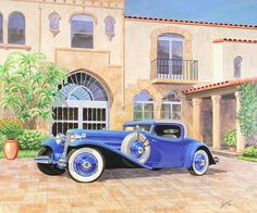 Hayes Coupe L-29 Cord Vintage Classicautomotive Art Sketch Rendering Painting by John Samsen