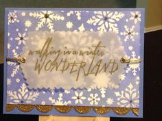 Christmas Card - Versamark - Embossing Powders:  Ranger Super Fine Gold, Hero Arts White - Distress Inks:  Chipped Sapphire, Blueprint Sketch - Ranger Stickles Tidings - Dies:  Art C Large Oval, Lawn Fawn Stitched Scalloped Borders - Hot Off The Press Snowfall Stencil - Stampers Anonymous/Tim Holtz Handwritten Holidays 2 - Paper:  Bazzill Vellum 40lb, Strathmore Bristol 100lb, The Paper Studio Glittered Cardstock Pack