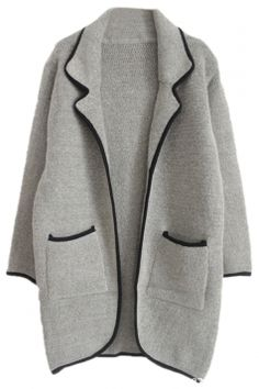 dfcba921b6cef  Gray Womens Loose Long Sleeve  Thick  Chic  Cardigan  Sweater  Coat