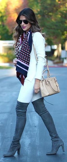 Thigh Suede Boots On Jeans Fall women fashion outfit clothing style apparel @roressclothes closet ideas