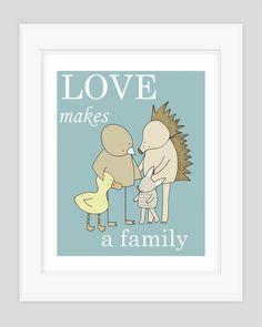 Nursery Art Print, Adoption Print (Love Makes a Family). $17.00, via Etsy.