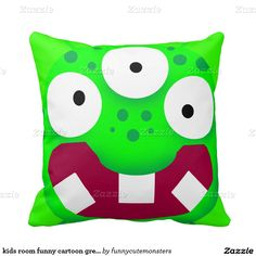 kids room funny cartoon green alien monster pillow