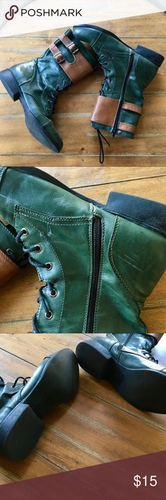 Green Boots Get your boots for the fall 🍃! Great condition.True to size 8.5 women's. I'm an 8 and I wore these with thick socks.   All flaws are pictured. The scratch is unnoticeable when worn.  🚫NO TRADES🚫 Forever 21 Shoes Lace Up Boots