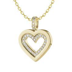 Avontuur Diamond Necklace: Rs.35,939    #Diamond #Yellow #Necklace #Gold #Heart #Love