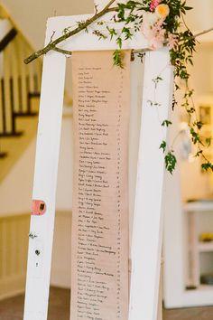 Door and hanging seating chart. Cedar Lane Letterpress.