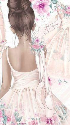 Ballerina Art, Ballet Art, Ballet Wallpaper, Girl Wallpaper, Ballet Drawings, Ballet Painting, Dance Photography, Cute Wallpapers, Iphone Wallpapers