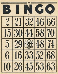 Several bingo cards in various colors and tickets to print for free. vintage aged ephemera