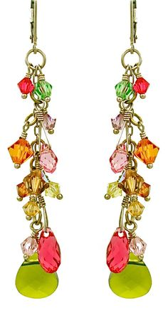 Swarovski crystals & briolette earrings.