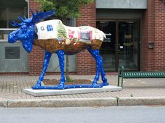 Fantastic. Animal Sculptures, Vermont, Fascinator, Statues, Squirrel, Street Art, Cow, Moose Art, Creative