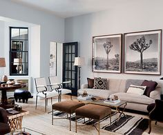 Love the Black/White/Tan color scheme. The textures are fantastic. Designed by Nate Berkus