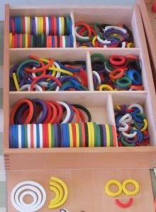 manipulatives - these are Froebel Gift 8 Wood Design Rings for exploring lines and shapes. $75 on Amazon
