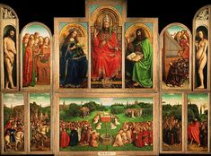 """Adoration of the Mystic Lamb (Dutch: 'Het Lam Gods' > The Lamb of God; completed 1432), by the brothers van Eyck is an all time masterpiece of art. And, I read, """"Early Flemish polyptych panel painting"""". It is also source of never ending research/stories, as part of the panel was stolen in 1934. WHERE? Sint-Baafskathedraal, Gent, Belgium + ."""