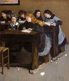 The Lesson Norbert Goeneutte (French, Oil on canvas. Students write as they receive their lesson from a teacher not shown. Goeneutte presented a similar painting of young students at the Salon of 1876 which is now in the. Back To School Art, Art School, Ecole Art, Digital Museum, Vintage School, School Daze, Art Themes, Art Education, Art History
