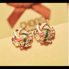 On Sale! Cute Colorfull CZ Gold Filled Earrings Brand New #E095 Jewelry Earrings