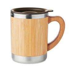 Promotional Eco Bamboo And Stainless Steel Reusable Coffee Mug Coffee Shop, Coffee Cups, Take Away Coffee Cup, Pot A Crayon, Insulated Travel Mugs, Reusable Coffee Cup, Glass Water Bottle, Client Gifts, Vacuum Flask