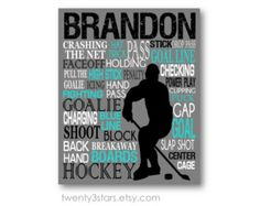 Hockey Gifts for Boys | Hockey Typography Art Print, Perfec t Boy's Room Art…