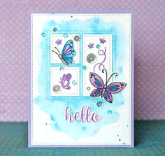 Pretty Pink Posh. Mini Storybook die. Remove the die cut pieces and watercolor the background - then put them back in and stamp and embellish.