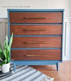 Blue Moon & Antique Walnut Dresser | General Finishes Design Center