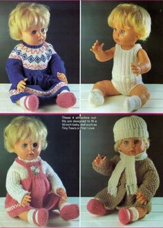 VINTAGE DOLLS CLOTHES SET OF 8 INCLUDING JACKET CUTE SIZE 40CMS KNITTING PATTERN