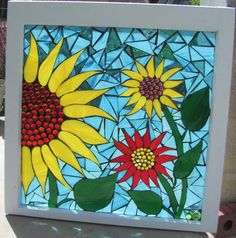 Sun Flower Mosaic Stained Glass Vintage Window.