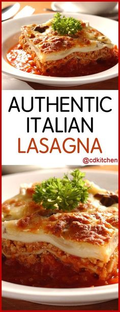 Authentic Italian Lasagna - Authentic lasagna is made up of layers of meat sauce and pasta - there are no layers of cheese in between. Enjoy this true Italian classic as is or omit the meat for a vegetarian version. Lasagna Sauce Recipe, Lasagna Recipe With Ricotta, Meat Sauce, Meat Lasagna Recipe No Cheese, Italian Dinner Recipes, Italian Dishes, Italian Cooking, Authentic Italian Recipes, Gourmet