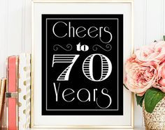 Cheers to 70 Years, 70th Birthday, 70th Birthday Party, 70th Birthday Party Sign, Birthday Printable, Birthday Decoration, Printable, 70th