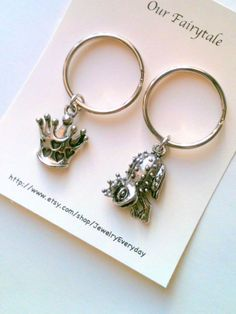 Couple Keychain Set, Our Fairytale Key Ring Gift, Husband and Wife, Girlfriend and Boyfriend, Frog Prince, Princess Crown, Valentines Day Gift Ideas, Cards