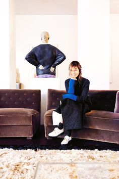 The designer and founder of Marni in her cool, edgy home
