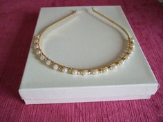 Gold Pearl & Crystal Alice band for Bridesmaids and Flower Girls, Wedding, Prom, Holy Communion, Wedding Hair, Bride Headband Alice band