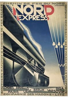 Nord Express advertisement by Adolphe Mouron Cassandre. France, 1927 l Victoria and Albert Museum