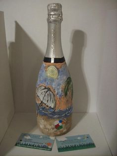 """""""Beach"""" theme I hand painted and designed on a champagne bottle : ) http://www.facebook.com/buggybeandesigns"""