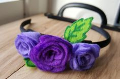 Handmade Purple Roses Headband by HandmadeNorfolk on Etsy Rose Headband, Felt Roses, Felt Leaves, Ribbon Headbands, Handmade Felt, Purple Roses, Black Ribbon, Etsy, Beautiful