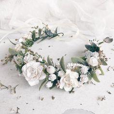 Set van 2 bruids floral kroon Boutonnière Bridal bloem door SERENlTY