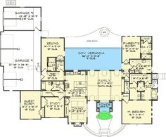 A house plan with a sewing room designed into it! And I love the master suite layout.