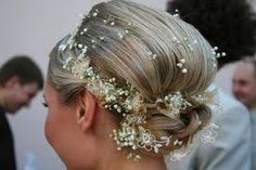 This is an example of the RIGHT type of hair flowers for your wedding day - beautiful!  #hair #hairinspiration #hairideas #bridal #bride #weddingideas #weddinghair Wedding Updo, Wedding Beauty, Wedding Makeup, Wedding Hair Flowers, Wedding Gowns, Flowers In Hair, Wedding Bridesmaids, Classic Hairstyles, Braided Hairstyles