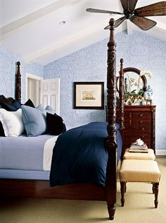 (via Sweet paisley covers this gorgeous blue master bedroom -  | b l )