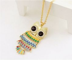 $5.99 Cute Multicolor Owl Pendant Long Chain Necklace at Online Fashion Jewelry Store Gofavor