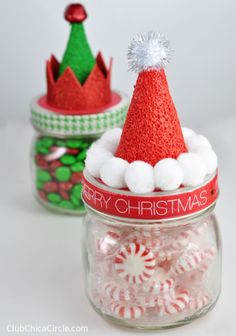 Santa and Elf Hat Candy Jars - Fun Family Crafts