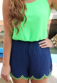 Green blouse and blue chiffon shorts in combination with accessories create magnificent and fresh summer look....cute for summer!