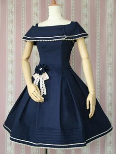 Unique, Elegant Designer Dark Blue Cotton Classic Short Lolita Dress for Full Selection of classic lolita dresses, Tailor Made, Fast Shipping. Buy Dark Blue Cotton Classic Short Lolita Dress Now! Vintage Outfits, Vintage Dresses, Vintage Fashion, Casual Dresses, Fashion Dresses, Girls Dresses, Elegant Dresses, Lolita Fashion, Girl Fashion